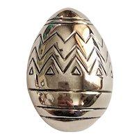 BEST signed Cute Easter Egg Silvertone Brooch / Pendant