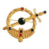 Scottish Goldtone Circle and Sword Kilt Pin with Rhinestones