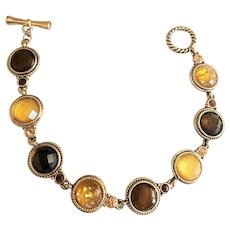 Round Linked Goldtone Bracelet with Pretty Fall Color Canters
