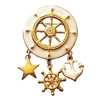 Ship's Wheel Goldtone Brooch with Cream Color Enamel and Charms
