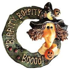 "Cute Halloween Witch "" BIPPITY BOPPITY BOOOO "" Resin Brooch"