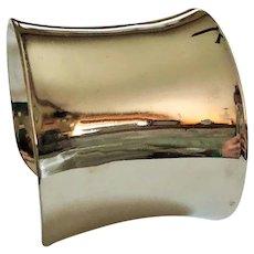 Wide Silvertone Cuff Bracelet with Pretty Mirror Finish
