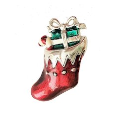 Christmas Stocking Red and Silvertone Brooch with Green Gift