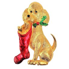 GERRYS  signed Cute Dog Holding a Christmas Stocking Brooch