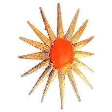 Flower Burst Goldtone Pin Brooch with Pretty Orange Center