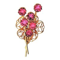Filigree Flower Goldtone Pin Brooch with Pretty Sparkling Pink Rhinestones