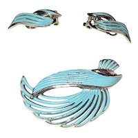 SET OF 2 - Turquoise Color Enamel on Silvertone Brooch with Matching Clip On Earrings