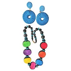 SET of 2 - Colorful Rattan Beaded Necklace with Matching Blue Pierced Earrings