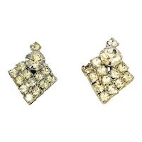 SPARKLING  Clear Rhinestones and Silvertone Clip On Earrings