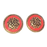 Round Goldtone and Coral Color Clip On Earrings