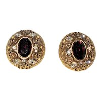 Beautiful Goldtone with Deep Red Glass center Clip on Earrings with Clear Rhinestones