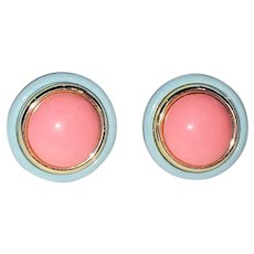 Beautiful Round Pink and Blue Round Clip On Earrings