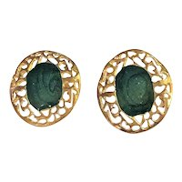 Pretty Goldtone with Dark Green Enameled Center Clip On Earrings