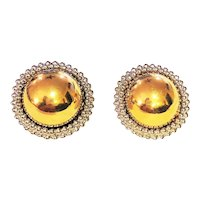 Round Silvertone Clip On Earrings with Pretty Polished Goldtone Center