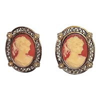 CAMEO on Pastel Coral Color and Goldtone Frame Clip On Earrings