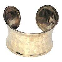 Wide Cuff Silvertone Bracelet with Pretty Hammered Design