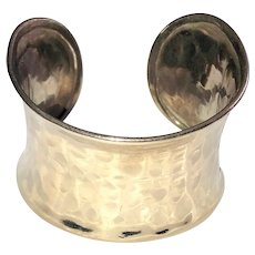 Wide Cuff Silvertone Bracelet with Pretty Hammered Design