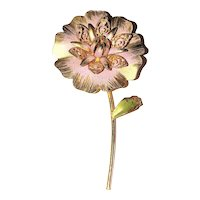 Enameled Pastel Pink on Goldtone Flower Pin Brooch with Pretty Green Leaf