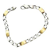 REDUCED- 18kt Gold and 925 ITALY Sterling Linked Bracelet with  Five 18kt Gold Rectangles