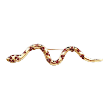 Cute Snake Goldtone Pin Brooch with Pretty Red Rhinestones