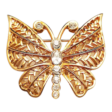 BUTTERFLY - Goldtone Butterfly Pin Brooch with Pretty Sparkling Rhinestones
