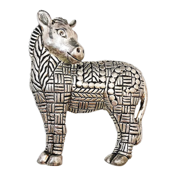 Cute Zebra Silvertone Pin Brooch with Nice Etched Design