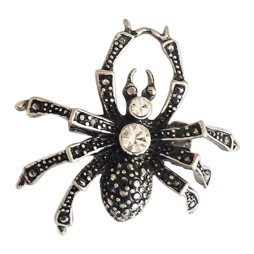 Cute Spider Silvertone Pin Brooch with Sparkling Clear Rhinestones