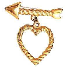 Dangling Heart with Arrow Goldtone Pin Brooch