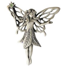 JJ signed Cute Fairy Pewter Pin Brooch