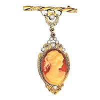 CAMEO on Pastel Coral Color and Goldtone Drop Brooch with Rhinestones