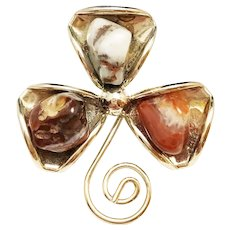 Three Leaf Clover Silvertone Pin Brooch with Polished Stones
