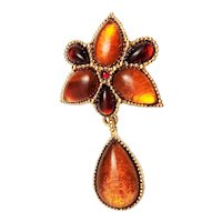 FLOWER Goldtone and Amber Color Brooch / Pendant with Dangling Tear Drop