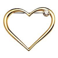 Large Open Heart Designed Goldtone Pin Brooch with Sparkling Rhinestone