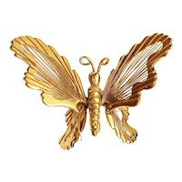 BUTTERFLY - Goldtone Butterfly Pin Brooch with Pretty Wire Wings