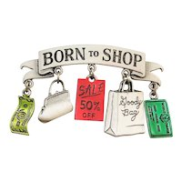 JJ signed Born To Shop Pewter Pin Brooch with Pretty Colored Charms