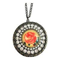 Round Rose Brass Necklace with Pretty Rhinestones