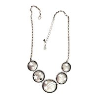 Round Linked Silvertone Necklace with Stars