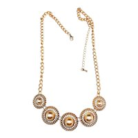 Round Goldtone with Center Faux Pearls Necklace with Pretty Sparkling Rhinestones