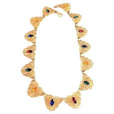 Filigree Goldtone Linked Necklace with Colorful Rhinestone Centers