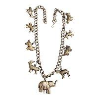 Animal Metal Etched Beads on Thick Chain Necklace