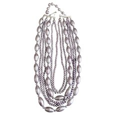 JAPAN signed Multi Strand Silver Faux Pearl Necklace with Pretty Silver Bead Accents