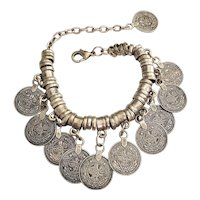 Coin Charm Bracelet with Pretty Silvertone Beads