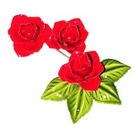 Enameled Bright Red Roses with Pretty Green Leaves