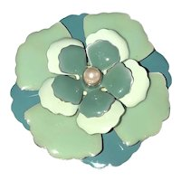 Enameled  Blue and Green Flower Pin Brooch with Faux Pearl Center
