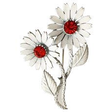 Enameled White Flowers Pin Brooch with Sparkling Red Rhinestones