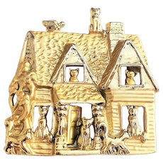 AJC signed Kitty Cats in a House Pin Brooch