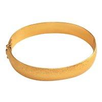 MONET signed Hinged Brushed Goldtone Bracelet