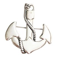 MJ signed Boat Anchor Silvertone Brooch / Pendant