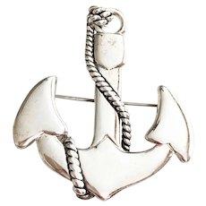 MJ signed Boat Anchor Silvertone Brooch / Pendant
