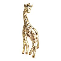 Large Giraffe Brass and Silvertone Brooch / Pendant